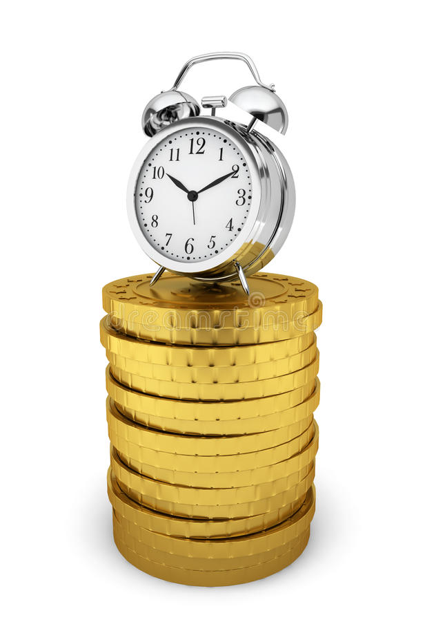 Download Alarm Clock On Stack Of Coins. Time Is Money Concept Stock Illustration - Illustration of countdown, hour: 38098798