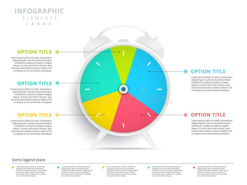 Alarm clock 5 step business process pie chart infographics. Creative corporate workflow circle graph elements. Company flowchart. Alarm clock 5 step business royalty free illustration