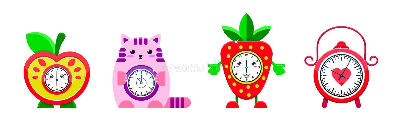 Alarm clock vector cartoon kids clockface clocked in time with hour or minute arrows illustration childish clocking stock illustration