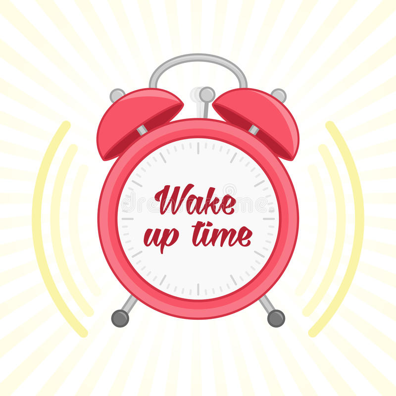 Alarm clock vector wake up time. vector illustration