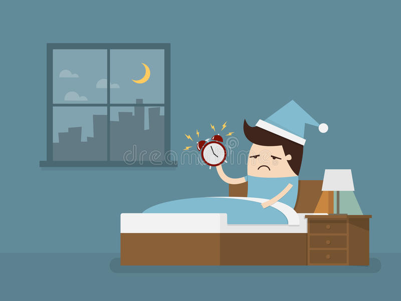 Alarm clock. Wake up early in the morning to go to work vector illustration