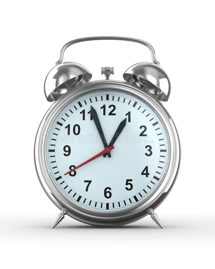 Alarm clock on white background. Isolated 3D image royalty free illustration