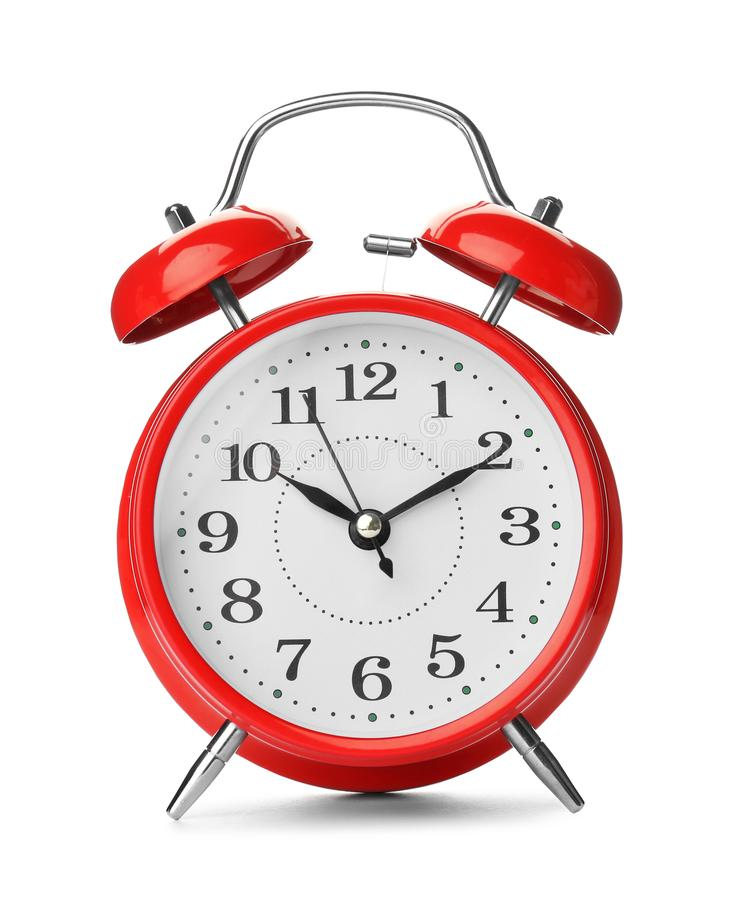 Alarm clock on white background. Time change concept stock images