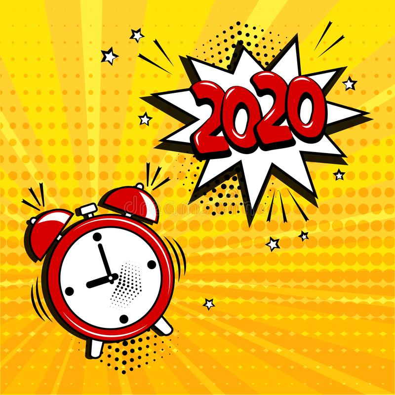 Alarm clock with white comic bubble with 2020 word on yellow background. Comic sound effects in pop art style. Vector stock photo