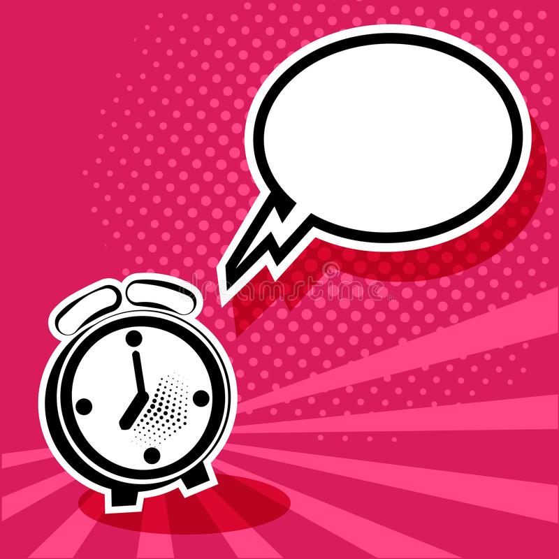 Alarm clock and white empty speech comic bubble. Vector illustration in pop art style stock illustration