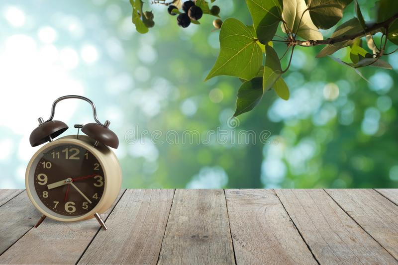 Alarm clock on wooden floor And branches and leaves with green bokeh background with copy space, Morning wake up stock photos