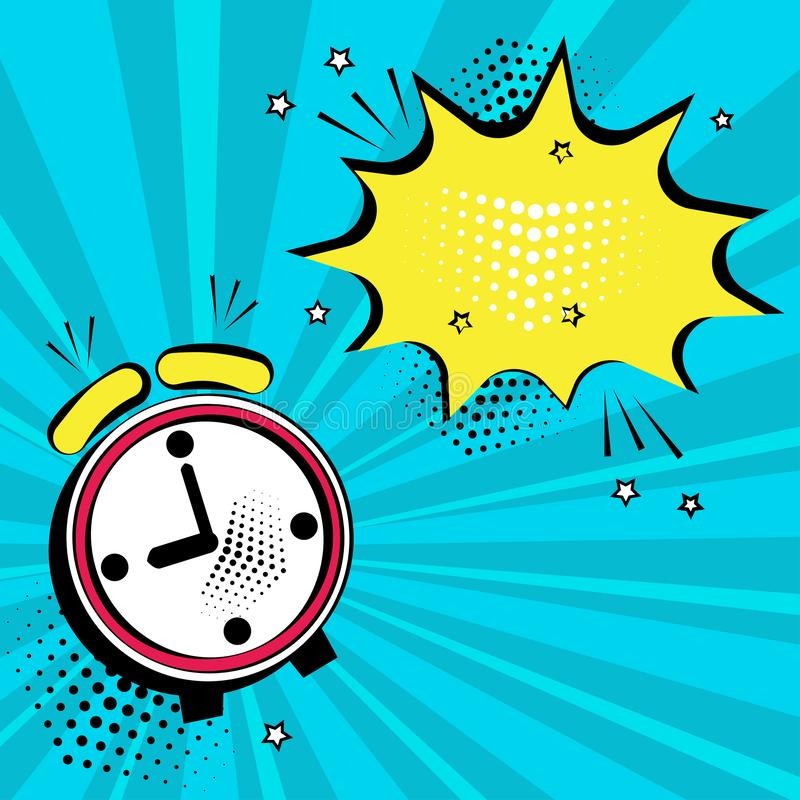 Alarm clock with yellow speech bubble for your text. Comic sound effects in pop art style. Vector illustration royalty free illustration