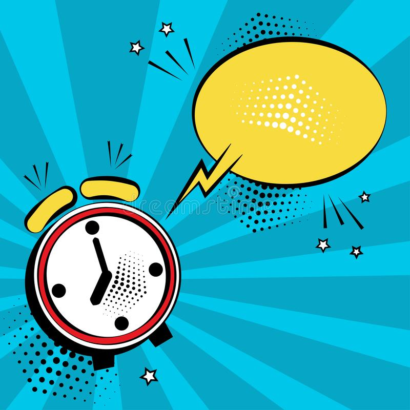 Alarm clock with yellow speech bubble for your text. Comic sound effects in pop art style. Vector illustration vector illustration