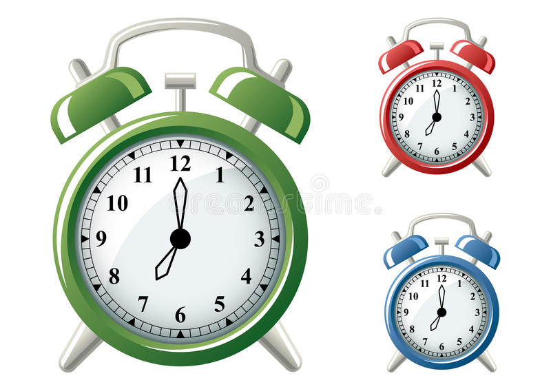 Alarm Clocks. Vector illustration of a classic alarm clock in three different colors. Use software to set your own time. Set the center of the black circle as vector illustration