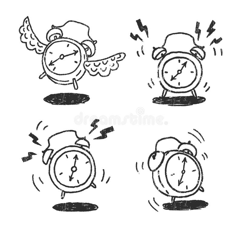 Alarm clocks. 4 Alarm clocks hand draw sketches stock illustration