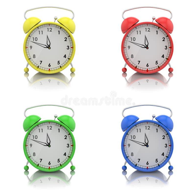 Alarm clocks set. On white stock illustration