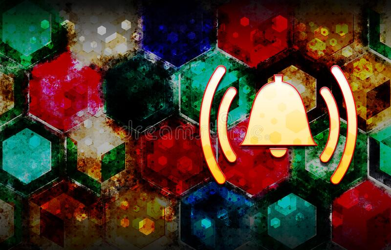 Alarm ringing bell icon abstract 3d colorful hexagon isometric design illustration background. Alarm ringing bell icon isolated on abstract 3d colorful hexagon royalty free illustration