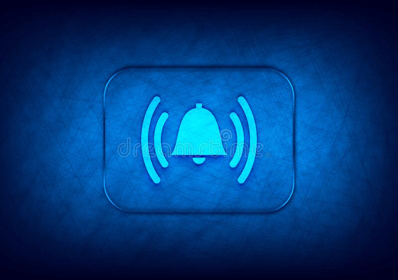 Alarm ringing bell icon abstract digital design blue background. Alarm ringing bell icon isolated on abstract digital design blue background royalty free illustration