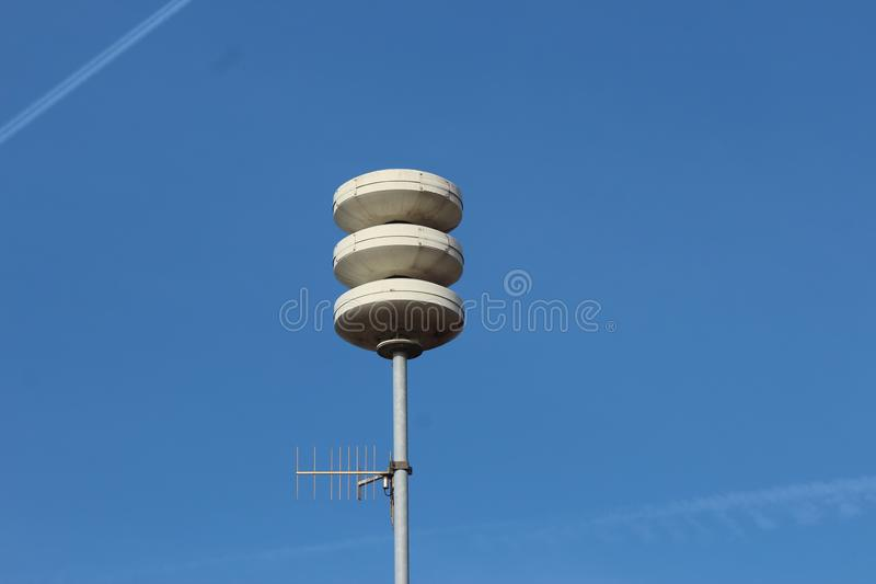 Alarm sirens for use at disasters and big incidents to warn residents in the Netherlands. Alarm sirens for use at disasters and big incidents to warn residents royalty free stock image