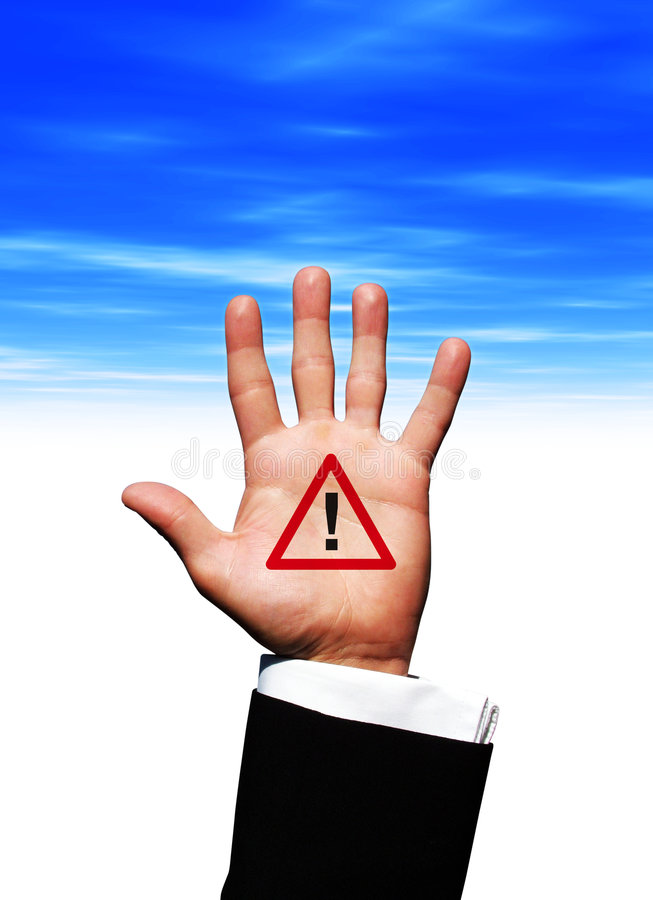 Alarm symbol in hand stock photography