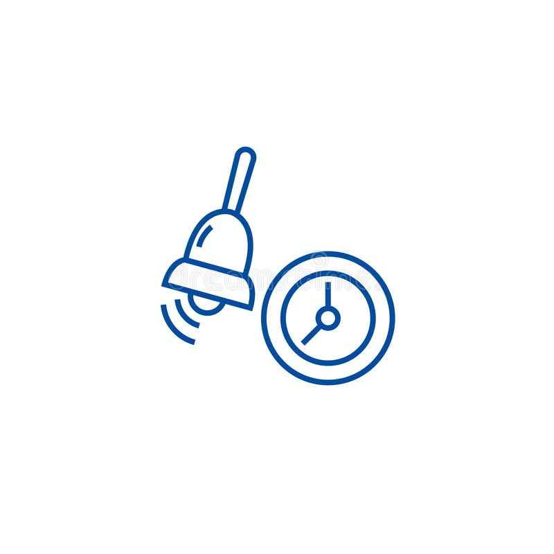 Alarm, szkolnego dzwonu linii ikony pojęcie Alarm, szkolnego dzwonu płaski wektorowy symbol, znak, kontur ilustracja ilustracji