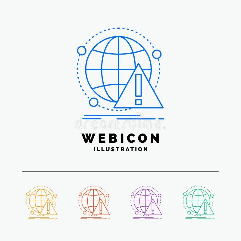 Alarma, antivirus, ataque, ordenador, línea de color del virus 5 plantilla del icono de la web aislada en blanco Ilustraci?n del  stock de ilustración
