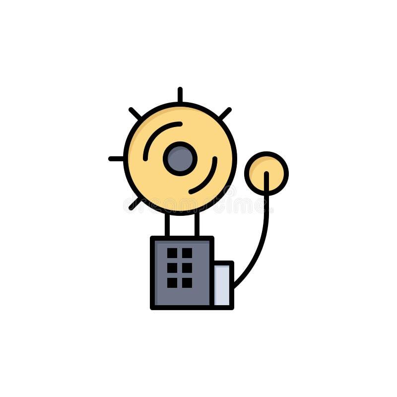 Alarma, alarma, Bell, fuego, icono plano del color del intruso Plantilla de la bandera del icono del vector ilustración del vector