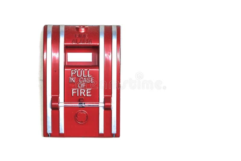 Alarma de incendio montada en la pared aislada en el fondo blanco, primer imagen de archivo libre de regalías