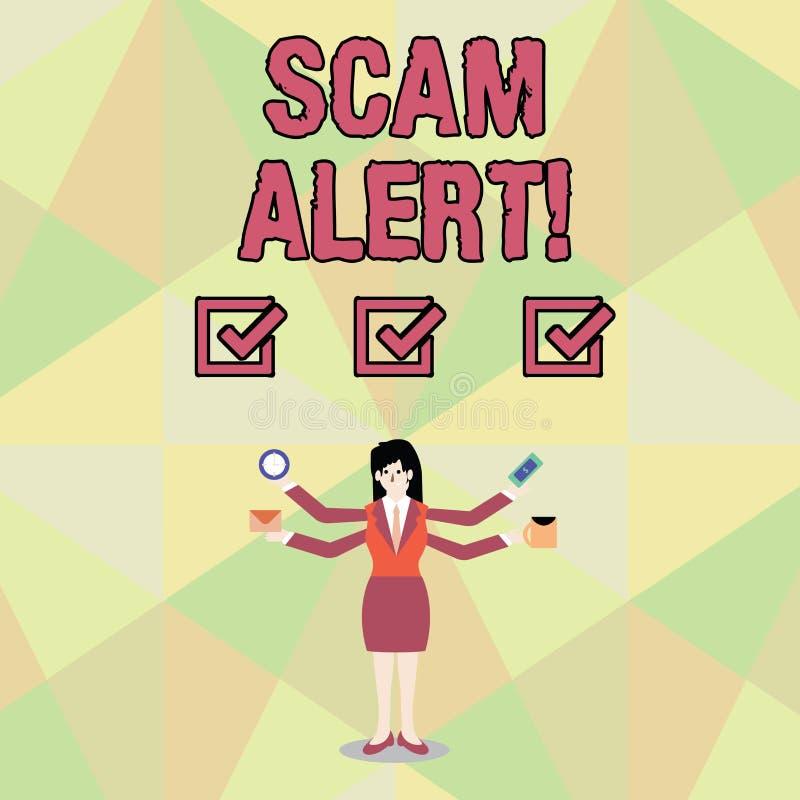Alarma de Scam del texto de la escritura de la palabra Concepto del negocio para fraudulento obtener el dinero de la víctima pers libre illustration