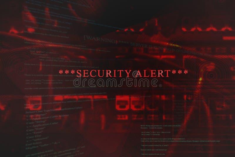 Alarma de seguridad emeregente en el ordenador stock de ilustración