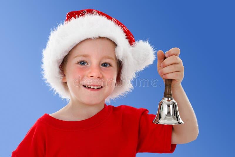 Alarma de sonido del niño feliz en azul imagen de archivo libre de regalías