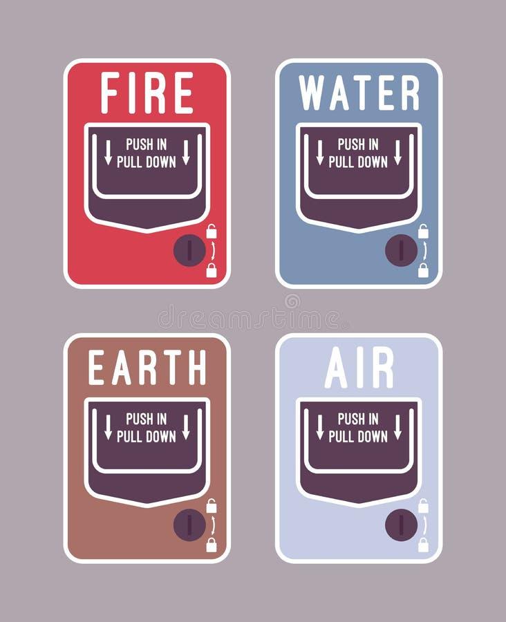 Alarma del fuego, del agua, del aire, y de la tierra ilustración del vector