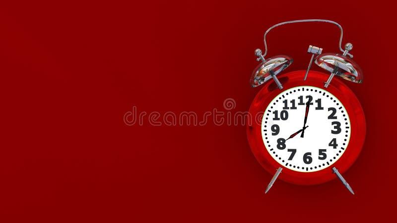 Alarma 8 del tiempo de reloj roja - representación 3d libre illustration