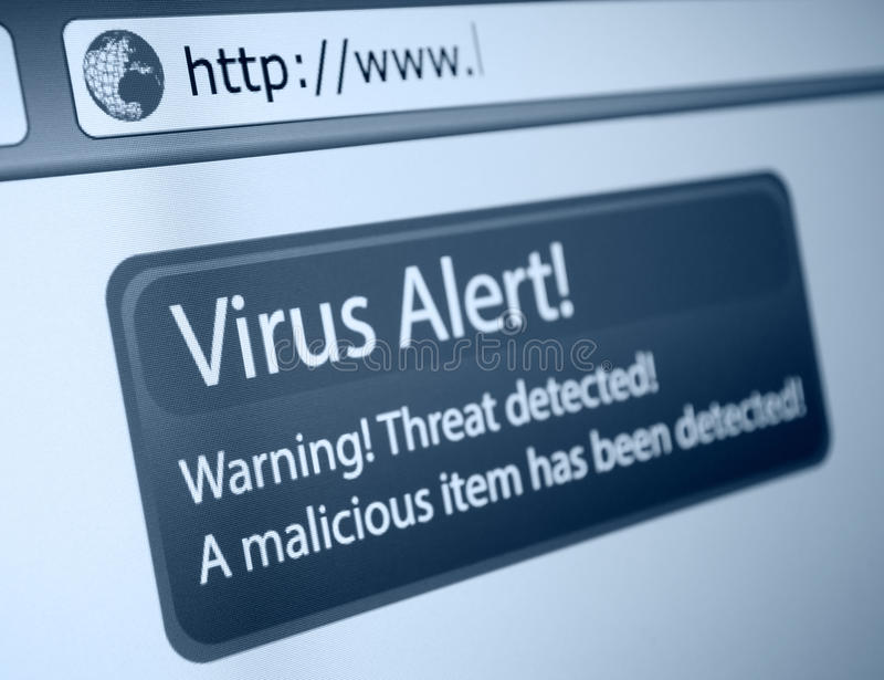 Alarma del virus imagen de archivo