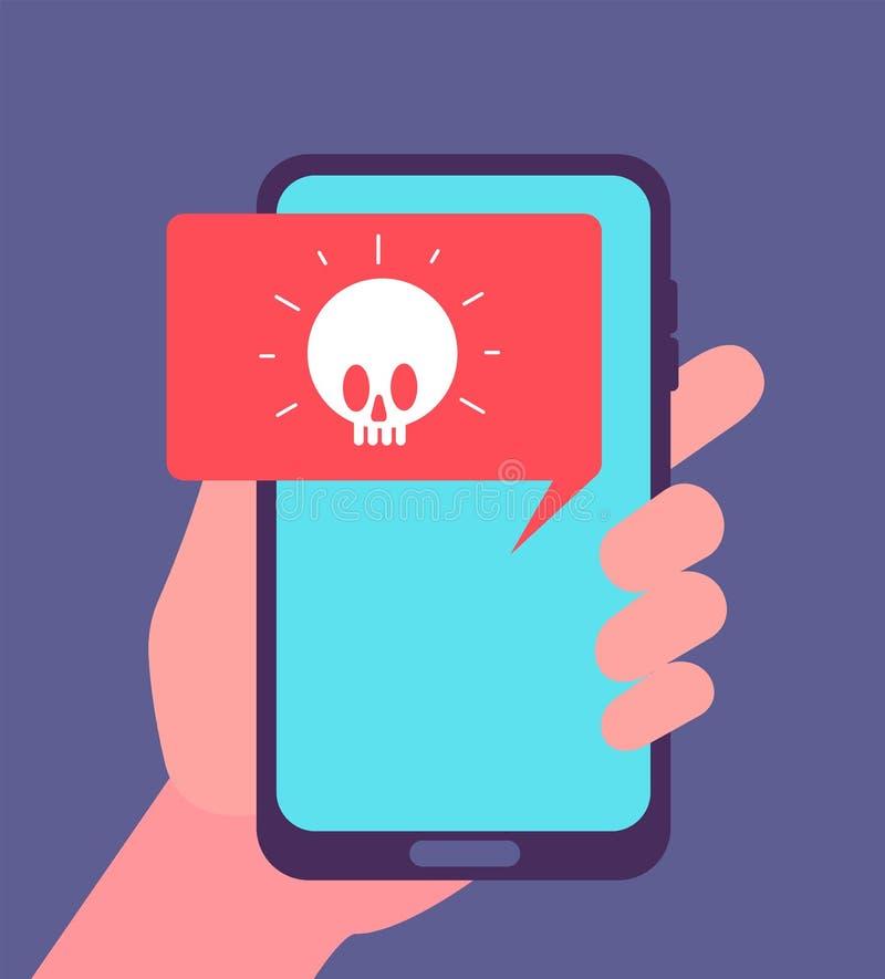 Alarma del virus Notificación de Malware en la pantalla del smartphone Ataque del pirata informático y concepto del vector del me libre illustration