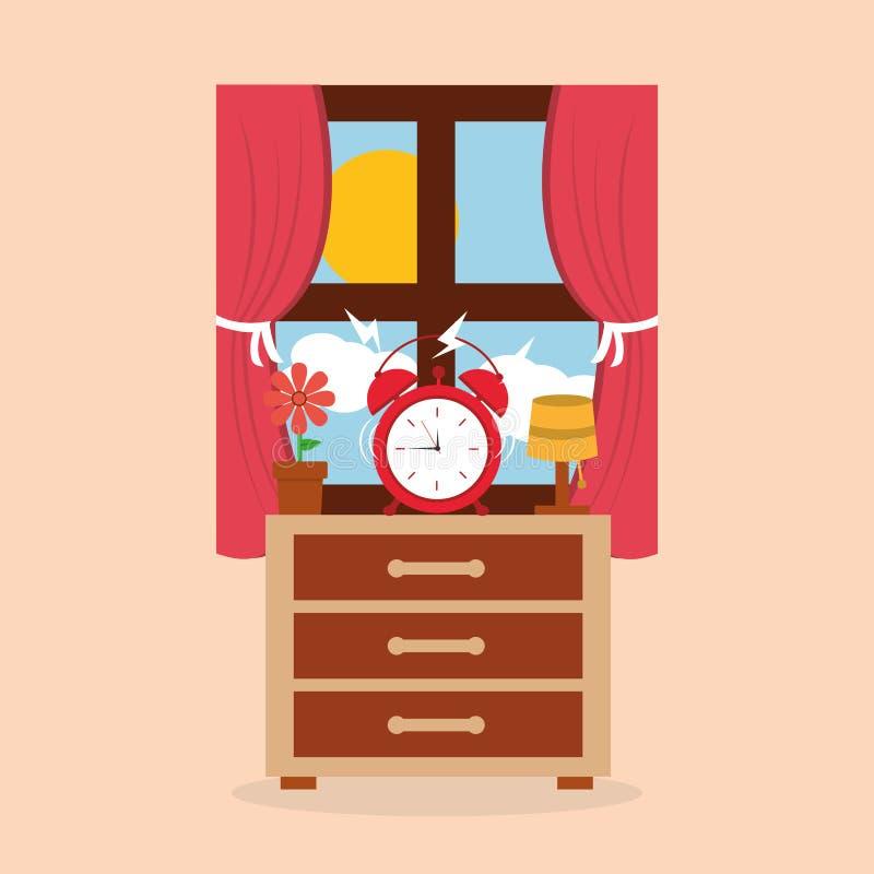Alarma redonda del reloj por la mañana de la flor y de la ventana de la lámpara de mesita de noche ilustración del vector