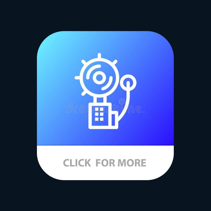 Alarme, alerte, Bell, le feu, bouton mobile d'appli d'intrus Android et ligne version d'IOS illustration de vecteur