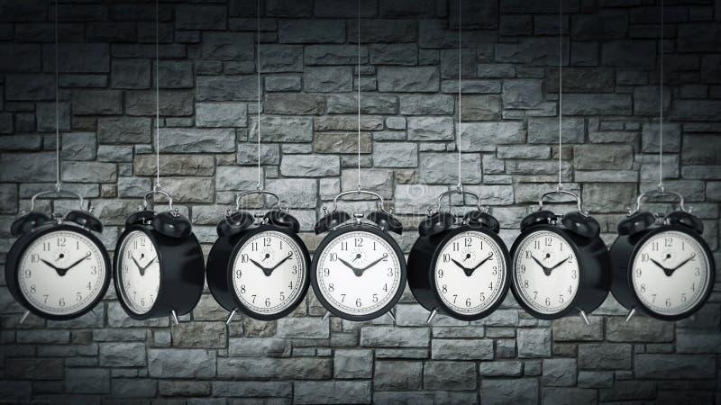 Alarme 3D d'horloge blanc au moment de l'exécution d'isolement par concept de fond illustration libre de droits