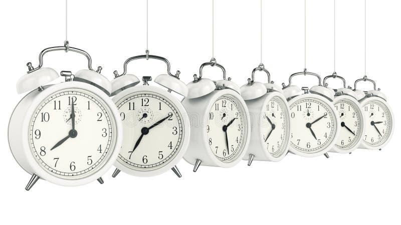 Alarme 3D d'horloge blanc au moment de l'exécution d'isolement par concept de fond illustration de vecteur