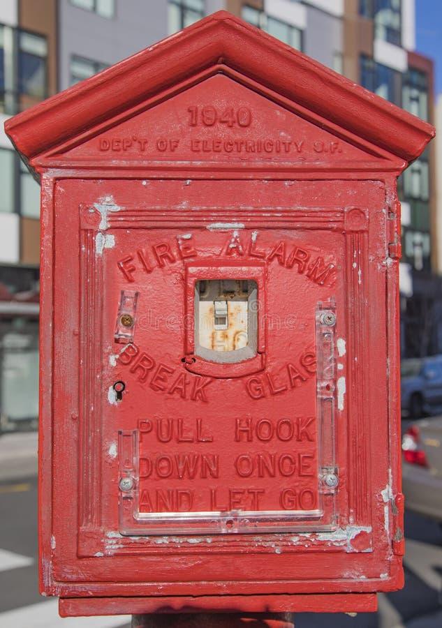 Alarme d'incendie San Fracisco de cru image libre de droits