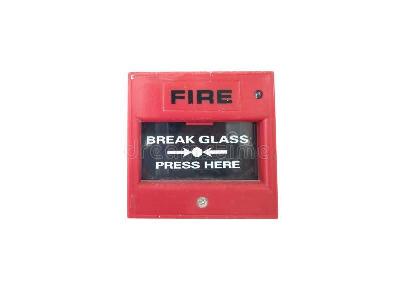 Alarme de incêndio vermelho do interruptor no fundo branco fotos de stock royalty free