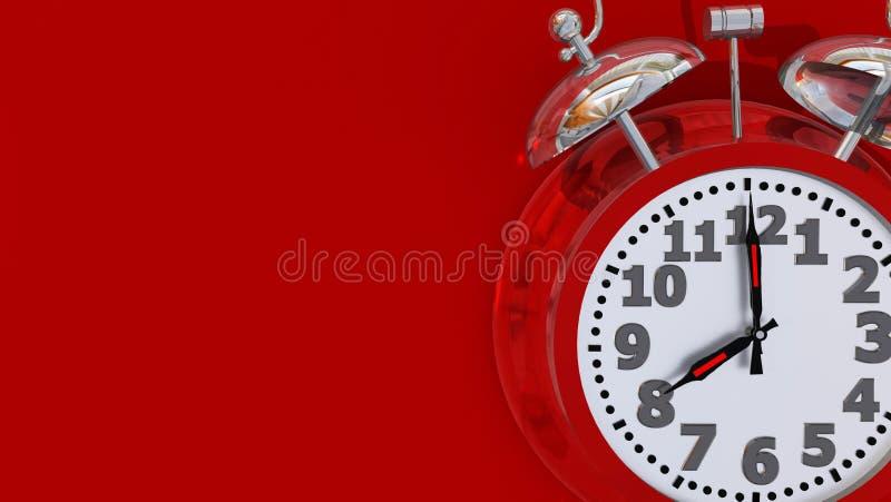 Alarme rouge à 8 heures d'horloge rétro - rendu 3d images stock