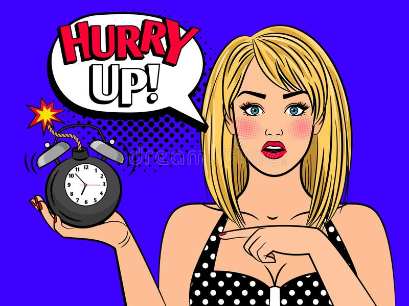 Pop art woman with alarmclock bomb. Alarmed retro girl. Beautiful pop art woman face with no time alarm bomb clock for sell out and closeout concepts, vector stock illustration