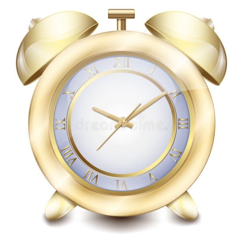 Alarmez l'or jaune de table avec une belle horloge de cadran et de table de mains illustration libre de droits
