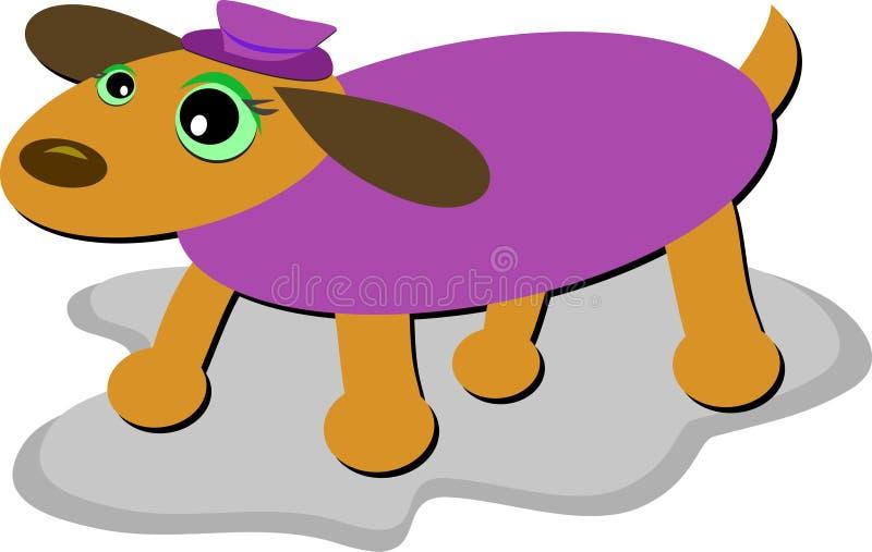 Alarmhund mit purpurroter Strickjacke und Schutzkappe lizenzfreie abbildung