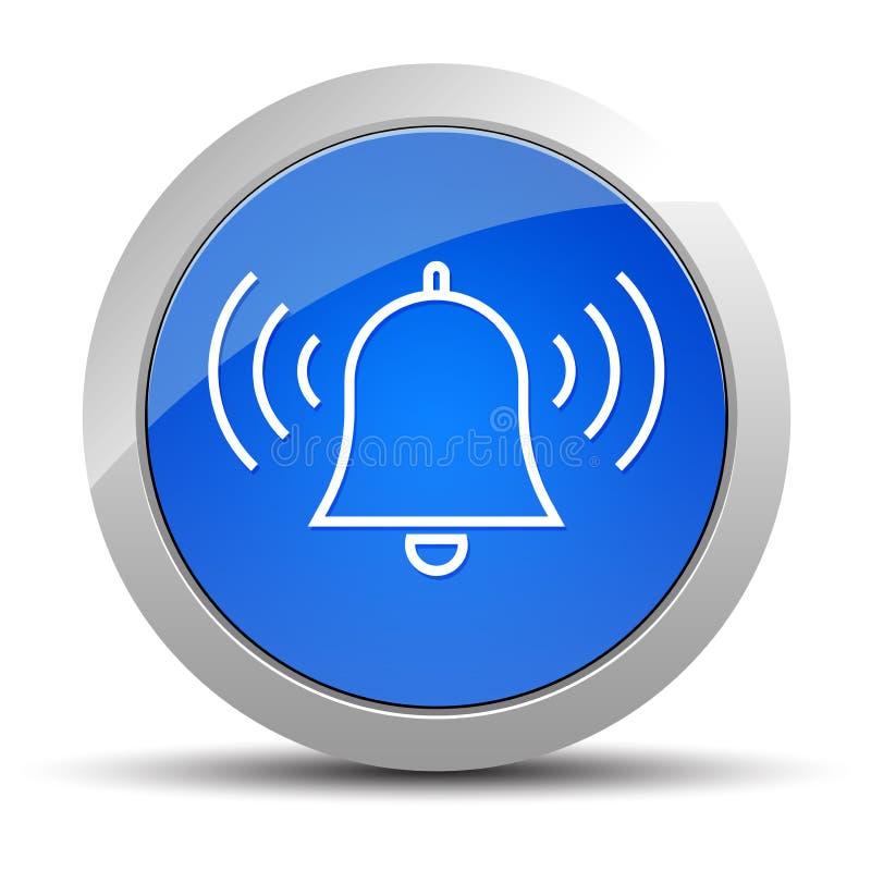 Alarmowej dzwonienie dzwonkowej ikony round guzika błękitna ilustracja ilustracja wektor