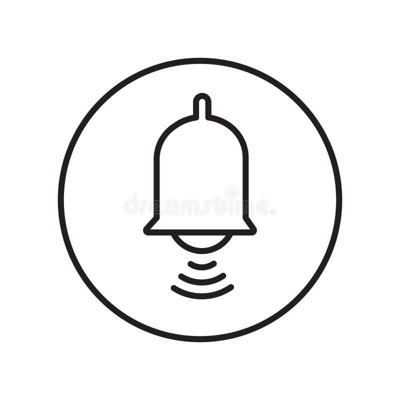 Alarmowy ikona wektor odizolowywający na białym tle, alarma znak, znak i symbole w cienkim liniowym konturze, projektujemy ilustracji