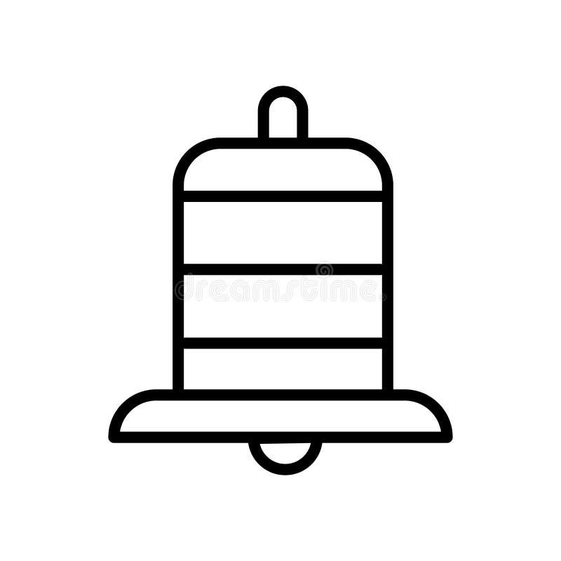 Alarmowy ikona wektor odizolowywający na tle, alarma znaku, linii i konturów elementach w liniowym stylu białych, royalty ilustracja