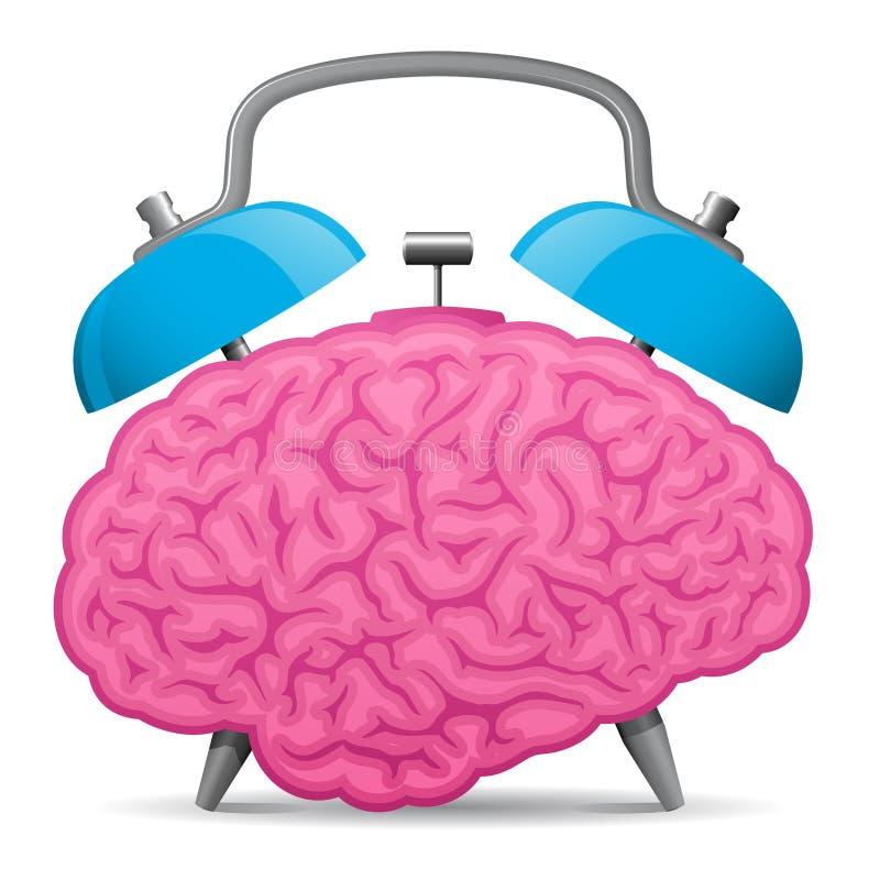 alarmowy mózg zegaru rocznik royalty ilustracja