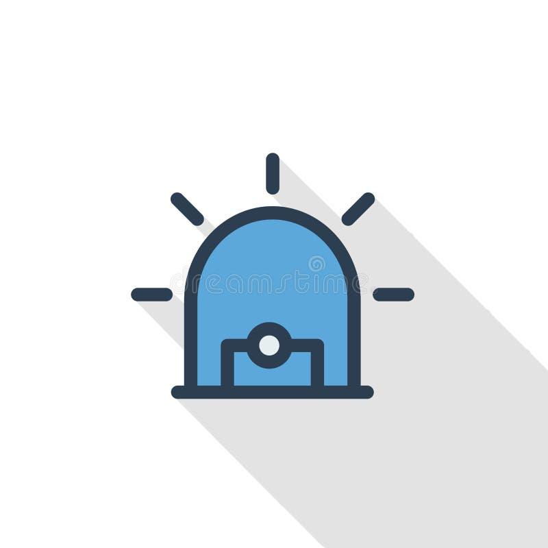 Alarmowy sygnał, ostrzeżenie, ostrzegawcza syreny linii ikona Liniowego wektorowego symbolu cienia kolorowy długi projekt royalty ilustracja