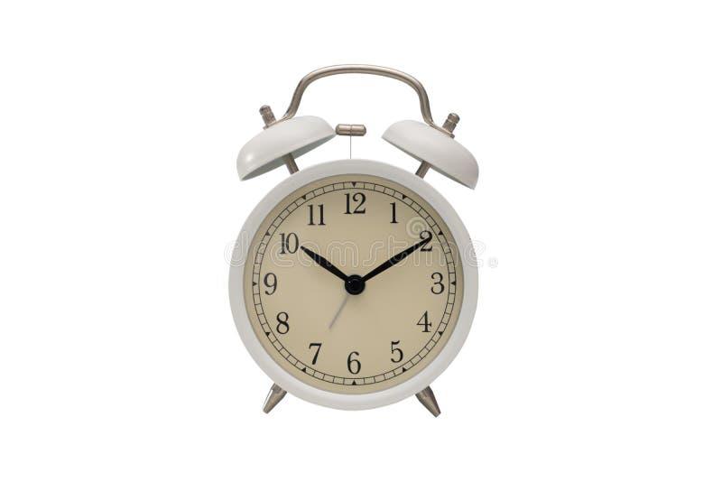 Alarmuhr getrennt auf weißem Hintergrund stockfoto