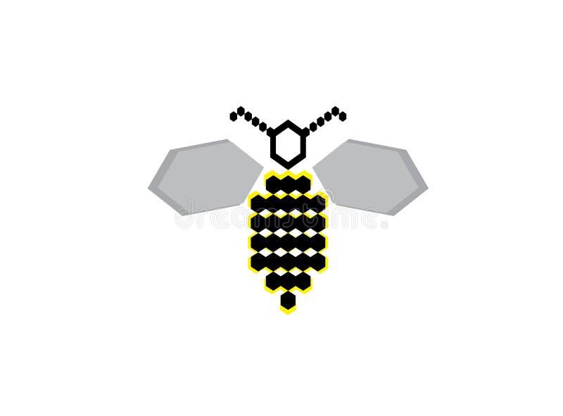 Alas abiertas de la abeja del hexágono y volar para el vector del diseño del logotipo ilustración del vector
