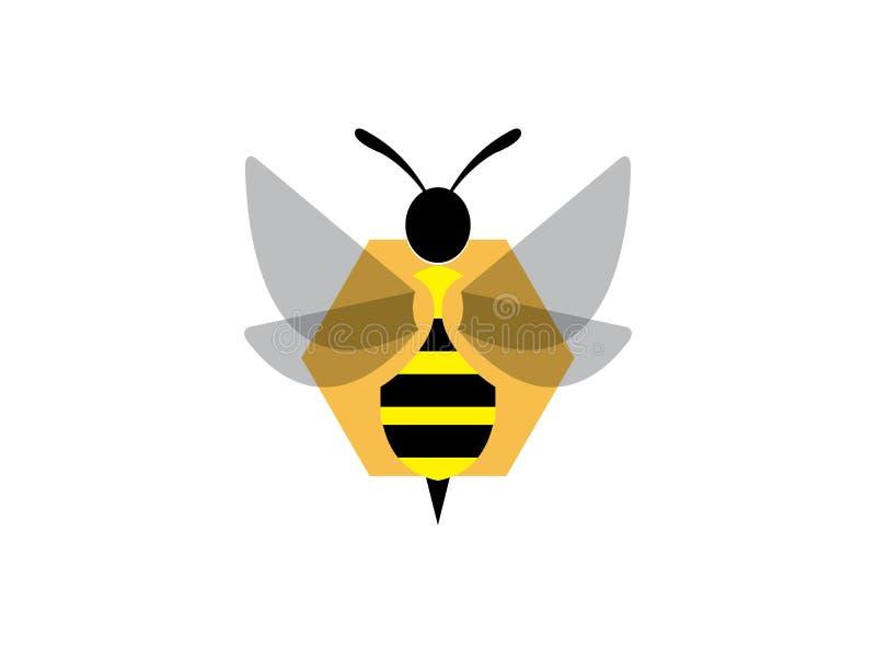 Alas abiertas de la abeja y volar en una colmena del hexágono para el vector del diseño del logotipo stock de ilustración