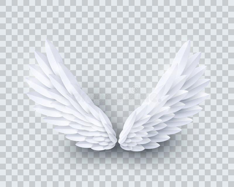 Alas acodadas realistas blancas del ángel del corte del papel del vector 3d libre illustration