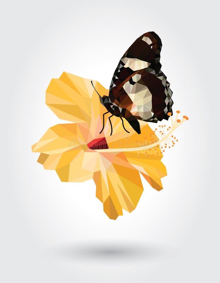 Alas blancas de la raya negra del punto de la mariposa baja del polígono en la flor amarilla del hibisco aislada en el fondo blan ilustración del vector